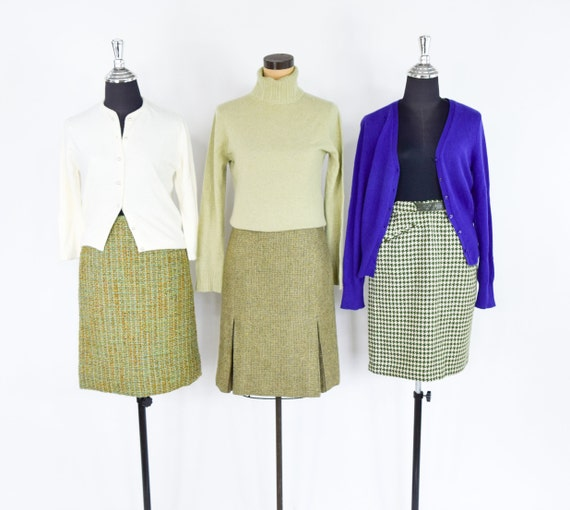 1960s Green Wool Pencil Skirts | 60s Green Scottis