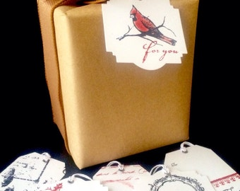Red vintage style Christmas gift tags