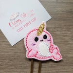 Narwhal Pink Glitter Paper Planner Journal Diary Clip Paperclip
