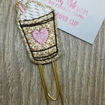 Iced Latte Coffee Paper Clip with Baby Pink Heart