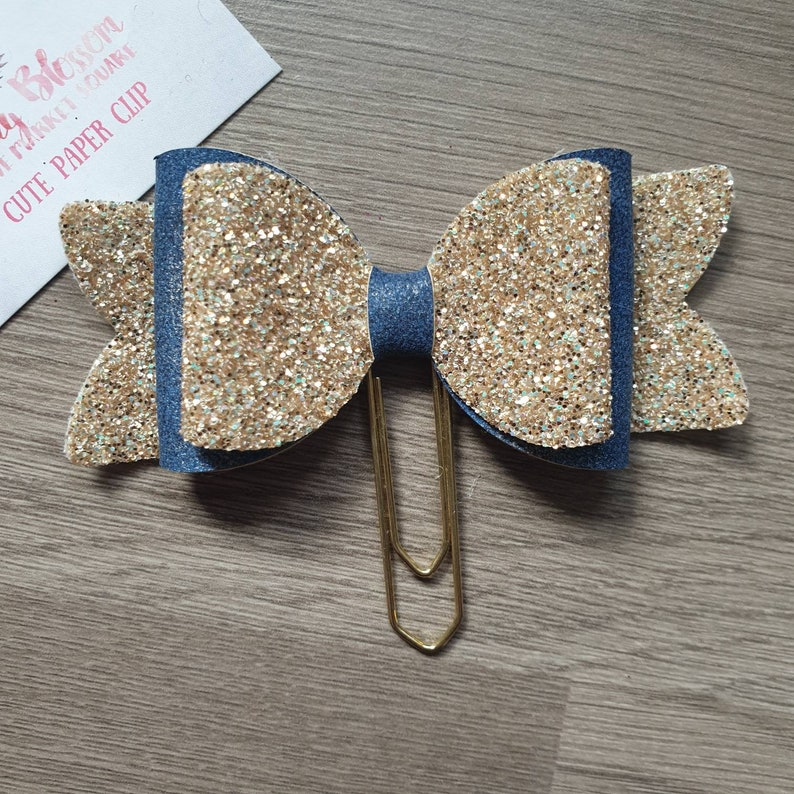 Large Denim Blue and Gold Bow Paper Clip image 0