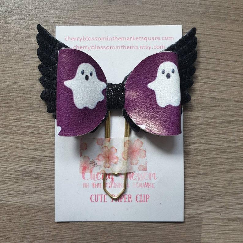 Medium Ghost Purple Halloween Black Wing Wings Winged Bow image 0