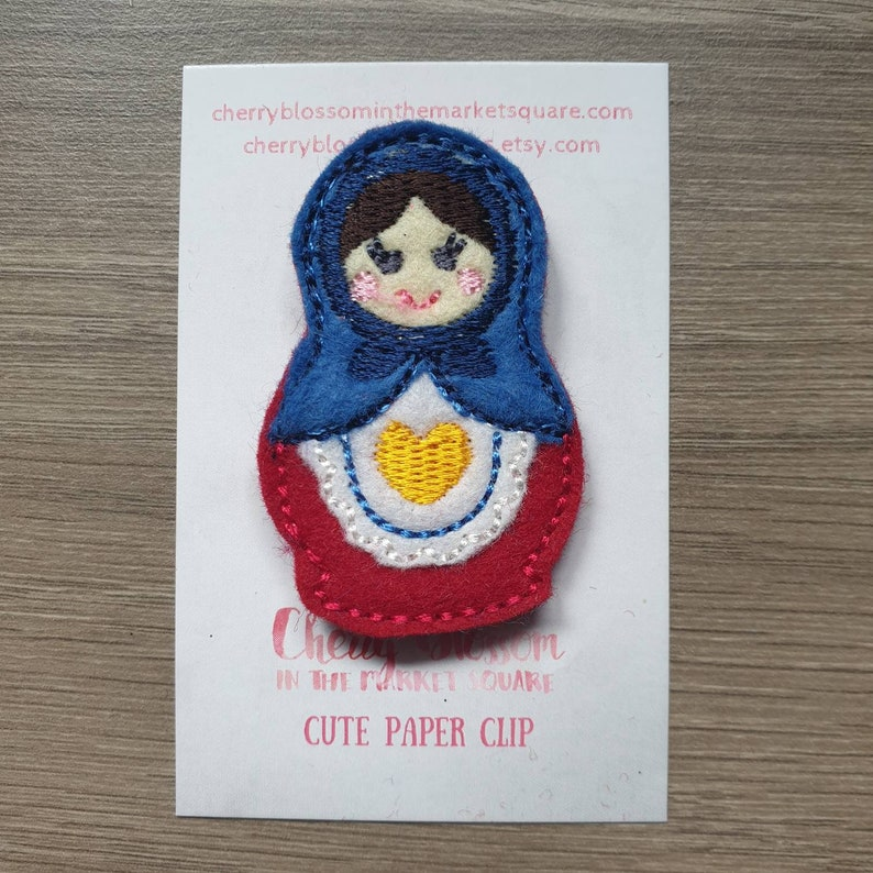Russian Stacking Doll Babushka Enclosed Felt Paper Planner image 0