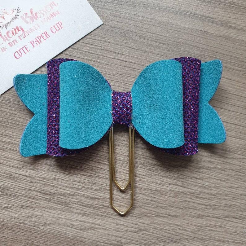 Large Mermaid Aqua and Purple Bow Paper Clip image 0