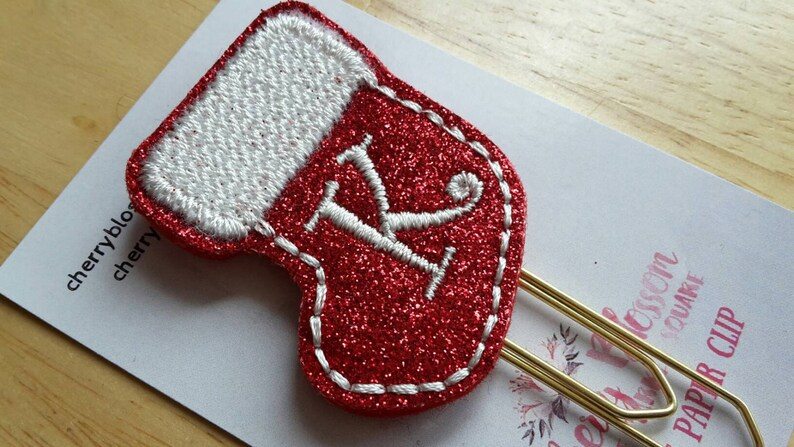 Stocking Initial Christmas Paper Clip image 0