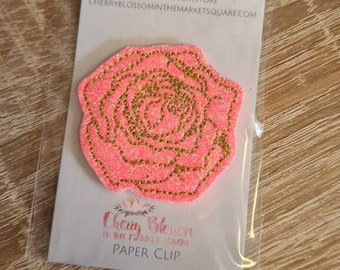 Red Rose Gold Love Valentine's Flower Valentine Wedding Glitter Paper Clip Planner Page Marker Diary Paperclip Enclosed Design CBITMS TN