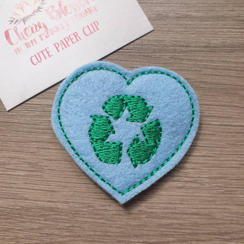 Eco Recycle Heart Paper Planner Journal Diary Clip Paperclip image 0