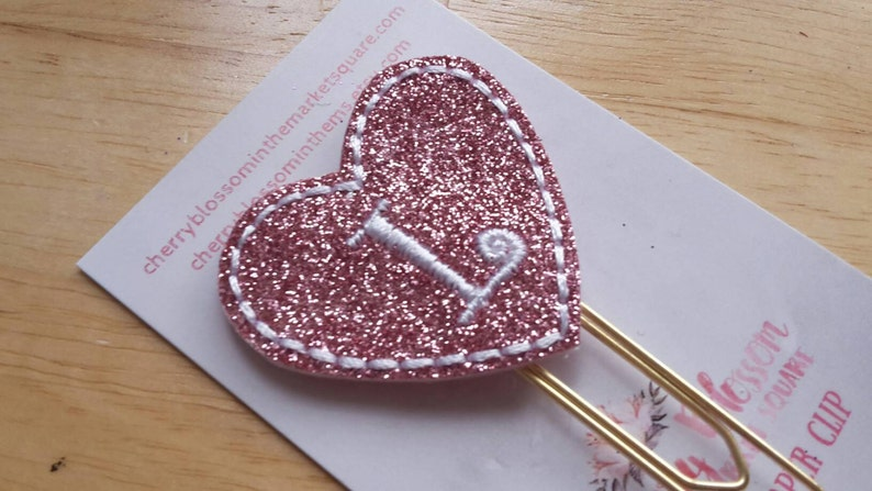 Heart Curly Initial Paper Clip image 0