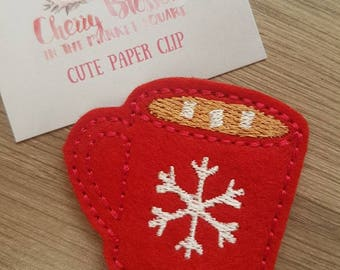 Red Snowflake Cocoa Coffee Cup Paper Clip