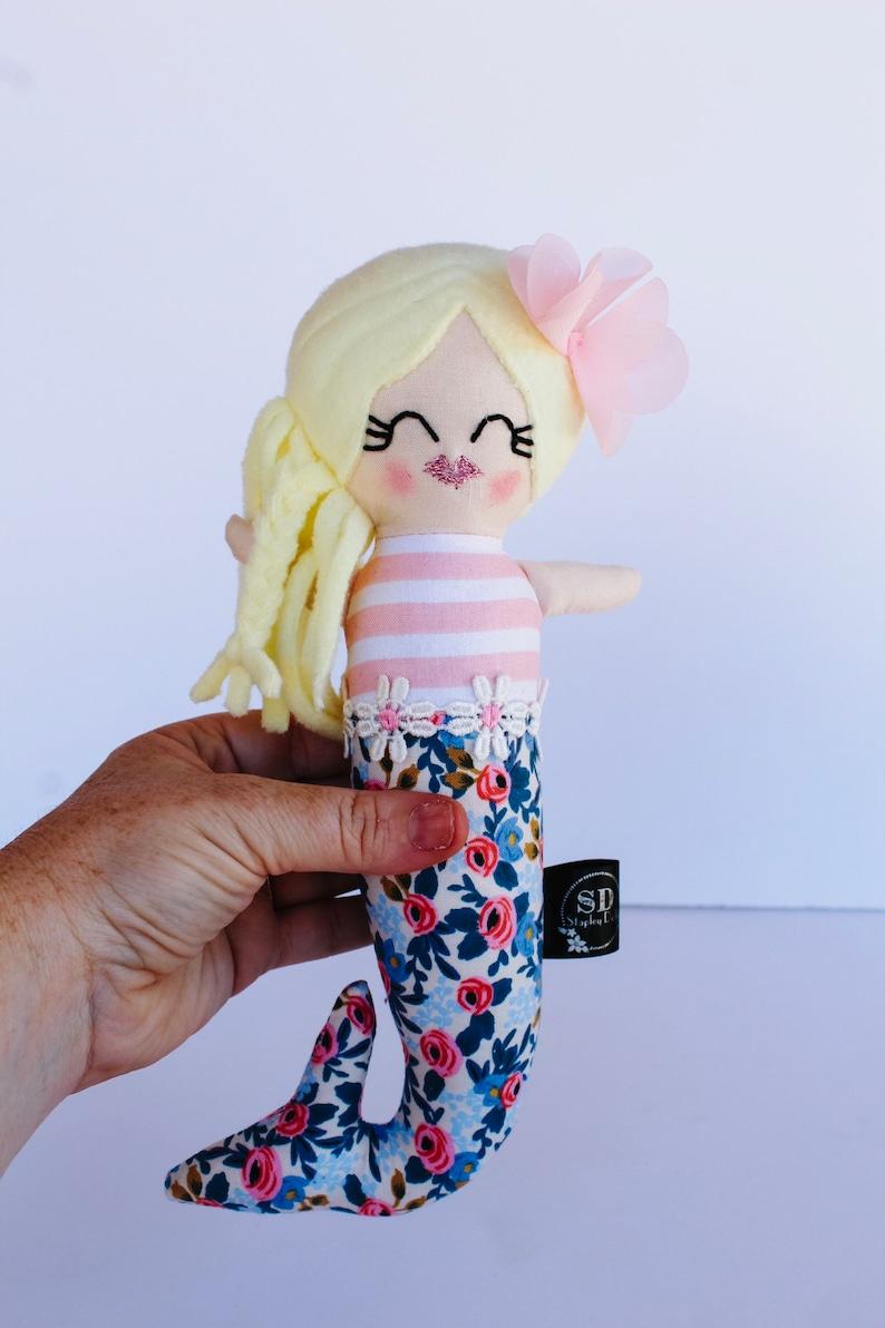 mermaid doll handmade miniature doll CELINE plush doll rag image 0