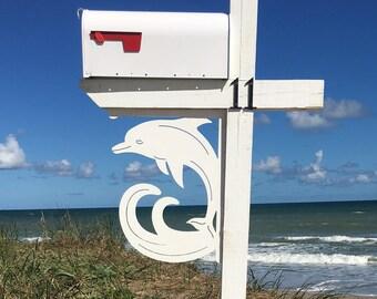 Mailbox Bracket - Dolphin Large 16x21 inch, Custom Mailbox, Coastal, Tropical, Bracket, Outdoor Decor, Mailbox & Post Not Included
