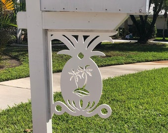 Mailbox Bracket - Pineapple W/Palm Tree, Large 16x21 in, Custom Mailbox, Coastal, Tropical, Outdoor Decor, Mailbox & Post Not Included