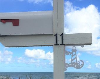 Mailbox Bracket - Lighthouse Small 7x9 inch, Custom Mailbox, Coastal, Tropical, Bracket, Outdoor Decor, Mailbox & Post Not Included