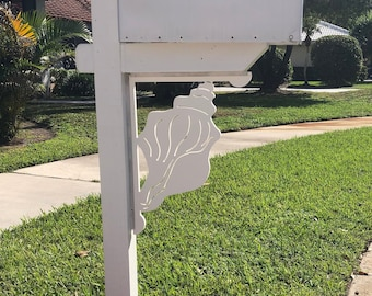 Mailbox Bracket - Conch Shell Large 16x21 inch, Custom Mailbox, Coastal, Tropical, Bracket, Outdoor Decor, Mailbox & Post Not Included