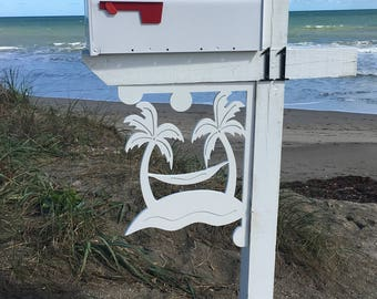 Mailbox Bracket - Palm Tree Hammock, Large 16x21 inch, Custom Mailbox, Coastal, Tropical, Outdoor Decor, Mailbox & Post Not Included