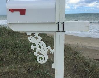 Mailbox Bracket - Gecko Lizard Medium 12x16 inch, Custom Mailbox, Coastal, Tropical, Bracket, Outdoor Decor, Mailbox & Post Not Included
