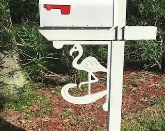 Mailbox Bracket - Flamingo Large 16x21 inch, Custom Mailbox, Coastal, Tropical, Bracket, Outdoor Decor, Mailbox & Post Not Included