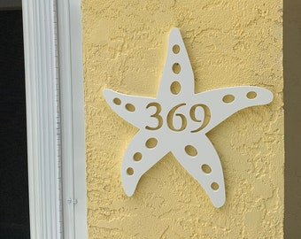 """House Number Plaque - Starfish, Personalized Sign - Outdoor Decor, Coastal Themed Custom Sign, Address Plaque - Approx 13"""" x 14"""" wide"""