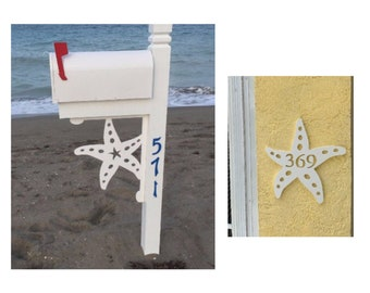 SAVE ON SETS! Starfish Mailbox Bracket and House Number Plaque - Large Bracket 16 x 21 inches, Plaque 13 x 14 inches (approx)