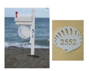 SAVE ON SETS! Seashell Mailbox Bracket and House Number Plaque - Large Bracket 16 x 21 inches, Plaque 14 x 11 inches (approx)