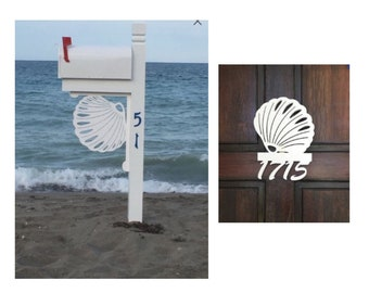SAVE ON SETS! Seashell Mailbox Bracket and House Number Sign - Large Bracket 16 x 21 inches, Sign 14 x 11 inches (approx)