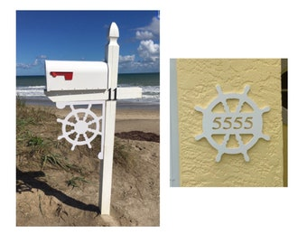 SAVE ON SETS! Ship's Wheel Mailbox Bracket and House Number Plaque - Large Bracket 16 x 21 inches, Plaque 14 x 14 inches (approx)
