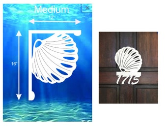 SAVE ON SETS! Seashell Mailbox Bracket and House Number Sign - Medium Bracket 12 x 16 inches, Sign 14 x 11 inches (approx)