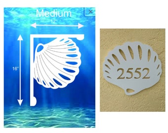 SAVE ON SETS! Seashell Mailbox Bracket and House Number Plaque - Medium Bracket 12 x 16 inches, Plaque 14 x 11 inches (approx)