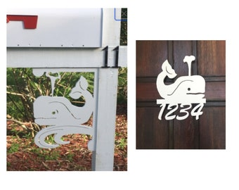 SAVE ON SETS! Whale Mailbox Bracket and House Number Sign - Medium Bracket 12 x 16 inches, Sign 14 x 9 (approx)