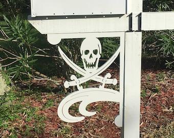 Mailbox Bracket - Pirate Large 16x21 inch, Custom Mailbox, Coastal, Tropical, Bracket, Outdoor Decor, Mailbox & Post Not Included