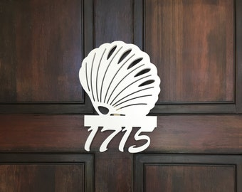 House Number Sign, Seashell, Address Plaque, Address Sign, Custom, Personalized Sign, Housewarming Gift, Coastal, Tropical, Outdoor Decor
