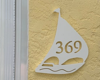 House Number Plaque - Sailboat, Personalized Sign, Outdoor Decor, Coastal Themed Custom Sign, Address Plaque - Approx 10 x 12 wide