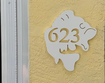 """House Number Plaque - Largemouth Bas, Personalized Sign, Outdoor Decor, Coastal Themed Custom Sign, Address Plaque - Approx 13""""x11"""" wide"""