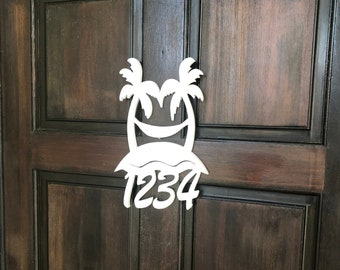 House Number Sign, Palm Tree Hammock, Address Sign, Custom, Personalized Sign, Housewarming Gift, Coastal, Tropical, Outdoor Decor