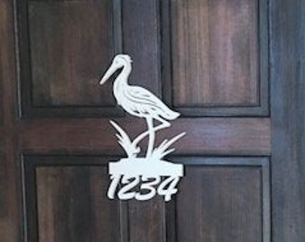 House Number Sign, Heron, Address Plaque, Address Sign, Custom, Personalized Sign, Housewarming Gift, Coastal, Tropical, Outdoor Decor