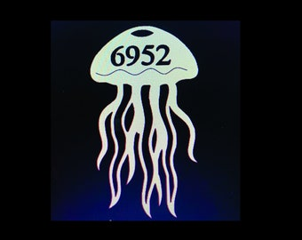 """House Number Plaque - Jellyfish, Personalized Sign, Outdoor Decor, Custom Sign, Address Plaque - Approx 14"""" x 11"""" wide"""