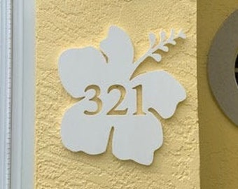 """House Number Plaque - Hibiscus, Personalized Sign, Outdoor Decor, Coastal Themed Custom Sign, Address Plaque - Approx 14"""" x 14"""" wide"""