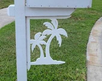 Mailbox Bracket - Palm Tree Double Large 16x21 inch, Custom Mailbox, Coastal, Tropical, Bracket, Outdoor Decor, Mailbox & Post Not Included