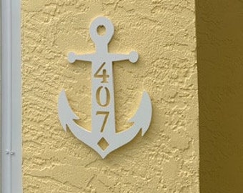 """House Number Plaque - Anchor, Personalized Sign, Outdoor Decor, Custom Sign, Address Plaque - Approx 14"""" x 9"""" wide"""