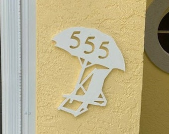 """House Number Plaque - Beach chair & umbrella, Personalized Sign, Outdoor Decor, Custom Sign, Address Plaque - Approx 14"""" x 11"""" wide"""