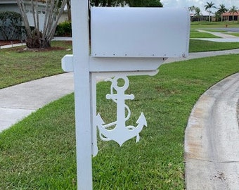 Mailbox Bracket - Anchor with Rope Large 16x21 inch, Custom Mailbox, Coastal, Tropical, Bracket, Outdoor Decor, Mailbox & Post Not Included