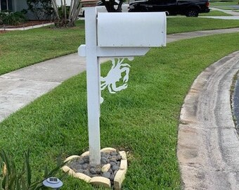 Mailbox Bracket - Crab Medium 12x16 inch, Custom Mailbox, Coastal, Tropical, Bracket, Outdoor Decor, Mailbox & Post Not Included