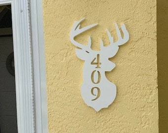 """House Number Plaque - Deer, Personalized Sign, Outdoor Decor, Custom Sign, Address Plaque - Approx 14"""" x 8"""" wide"""