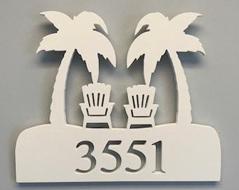 House Number Plaque - Palm Trees Adirondaks, Personalized Sign, Outdoor Decor, Coastal Themed Custom Sign, Address Plaque