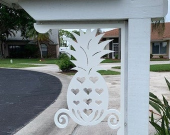 Mailbox Bracket - Pineapple W/Hearts, Large 16x21 inch, Custom Mailbox, Coastal, Tropical, Outdoor Decor, Mailbox & Post Not Included