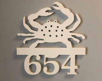 House Number Sign, Crab, Address Plaque, Address Sign, Custom, Personalized Sign, Housewarming Gift, Coastal, Tropical, Outdoor Decor