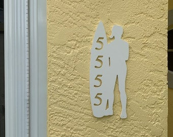 """House Number Plaque - Surfer Standing, Personalized Sign, Outdoor Decor, Custom Sign, Address Plaque - Approx 14"""" x 6"""" wide"""