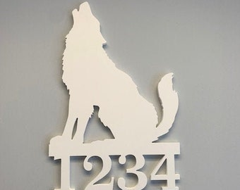 House Number Sign, Wolf,  Address Plaque, Address Sign, Custom, Personalized Sign, Housewarming Gift, Coastal, Outdoor Decor