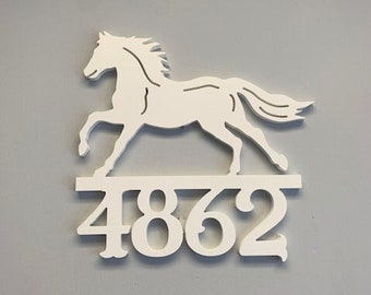 House Number Sign, Horse,  Address Plaque, Address Sign, Custom, Personalized Sign, Housewarming Gift, Coastal, Outdoor Decor
