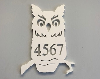House Number Plaque - Owl, Address Plaque, Address Sign, Custom, Personalized Sign, Housewarming Gift, Coastal, Outdoor Decor
